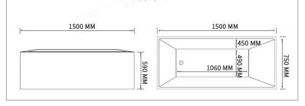 Standalone Bathtub Planform Beatrix Prestige Dimensions