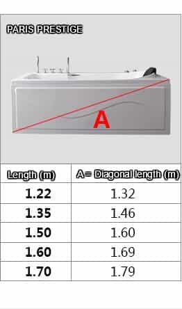 Paris Prestige Dimensions Guide Diagonal Length